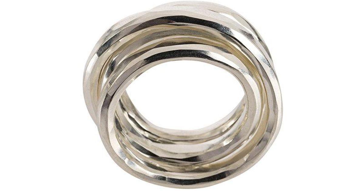 Werkstatt München multi band hammered ring - Metallic zEsswY