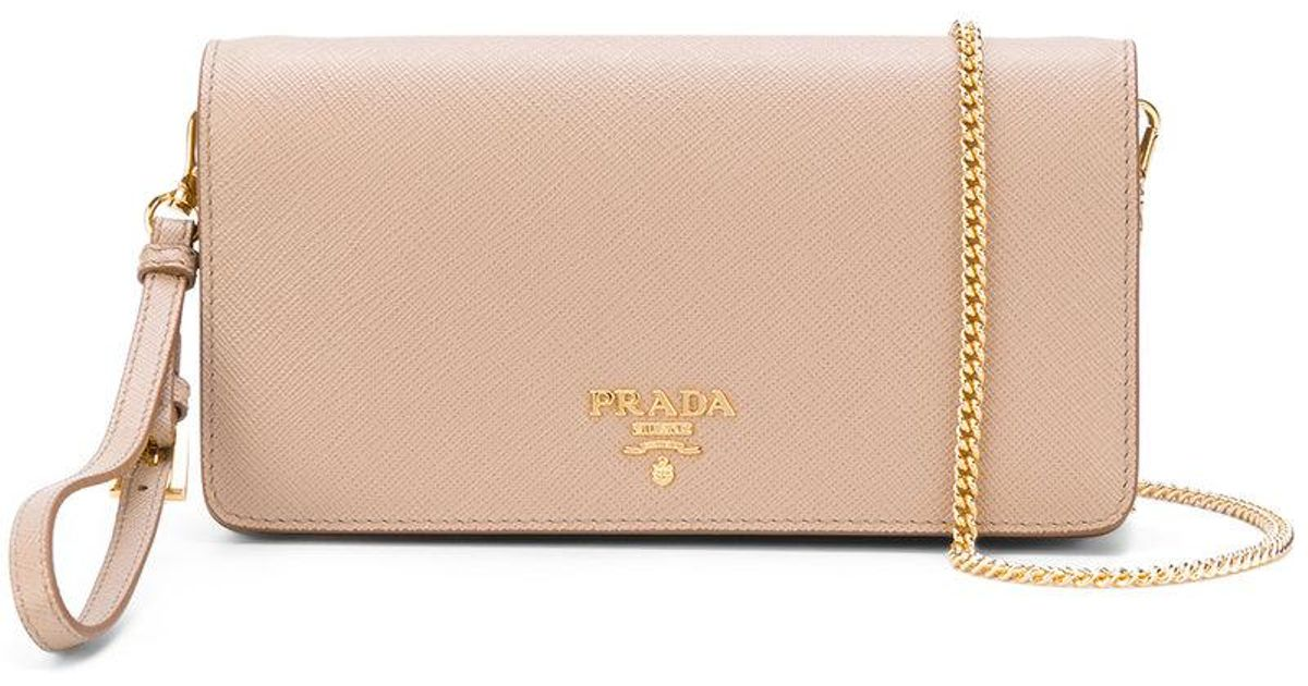 Lyst - Prada Saffiano Wrist Clutch Bag in Natural fda100bb9bc83