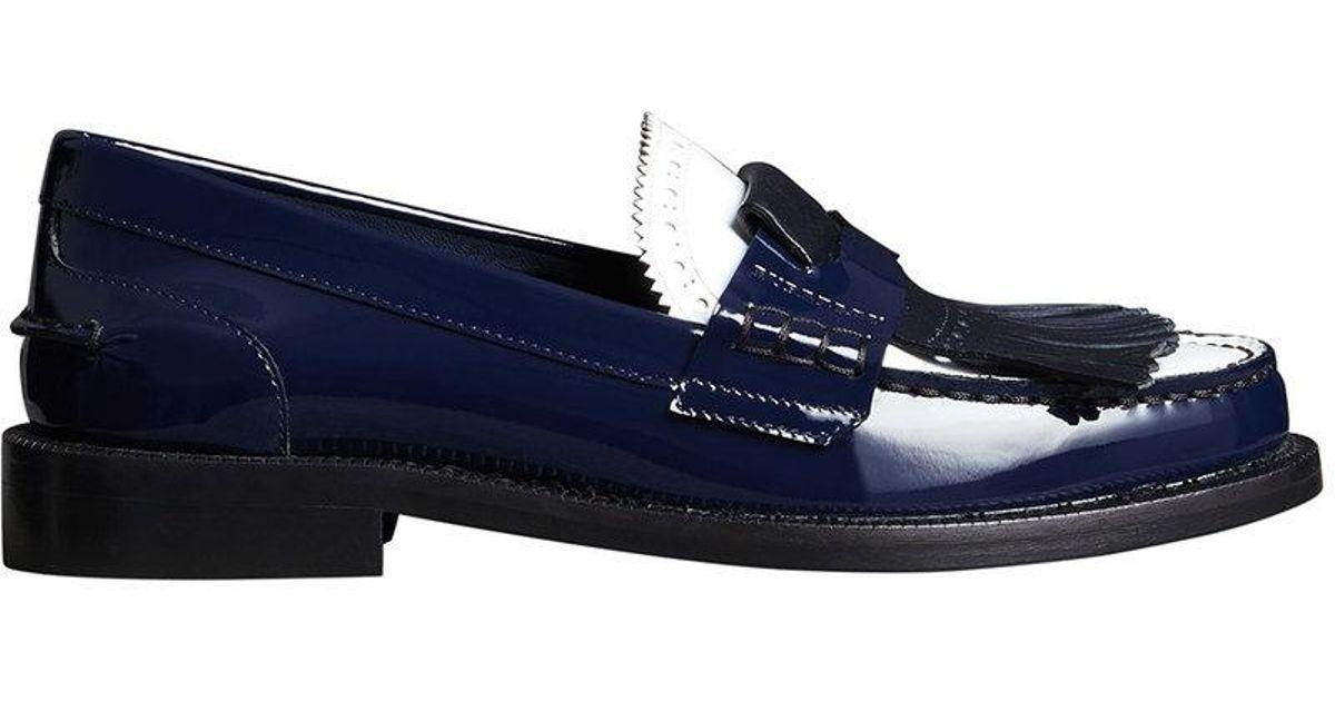 3fac85878a35 Lyst - Burberry Tri-tone Kiltie Fringe Patent Loafer in Blue - Save 63%