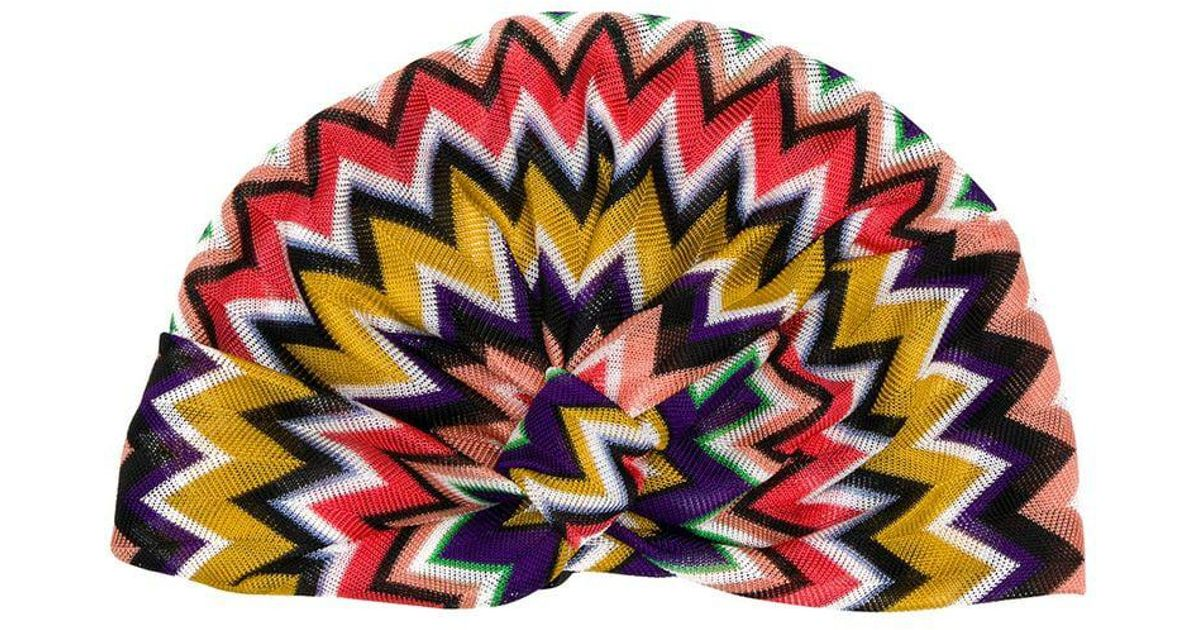 6568affc312 Lyst - Missoni Geometric Pattern Turban in Purple