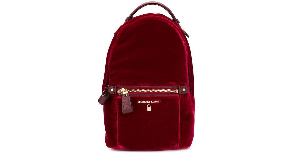 8db7c6293c5e ... best price michael michael kors mini velvet backpack in red lyst 17835  70a6d