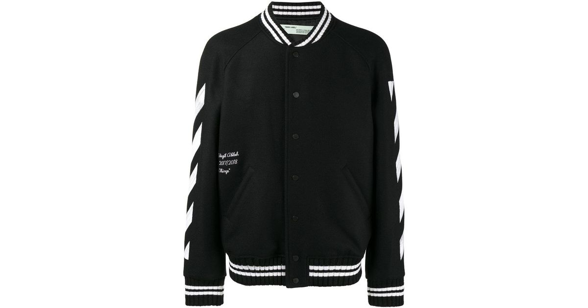 b87e7f43de5c Lyst - Off-White c o Virgil Abloh Brushed Print Bomber Jacket in Black for  Men
