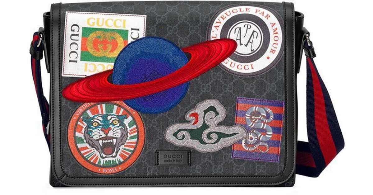694b67e01d73a1 Gucci Night Courrier GG Supreme Flap Messenger in Black for Men - Save 49%  - Lyst