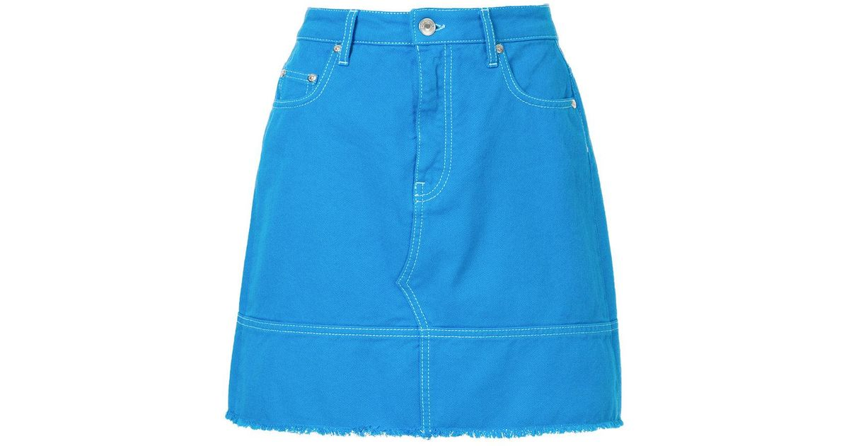 ec72351b2dc6 MSGM Frayed Denim Skirt in Blue - Lyst