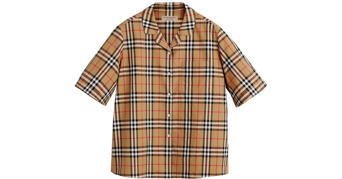 6b3063e43be92b Burberry Short-sleeve Vintage Check Shirt in Brown - Lyst