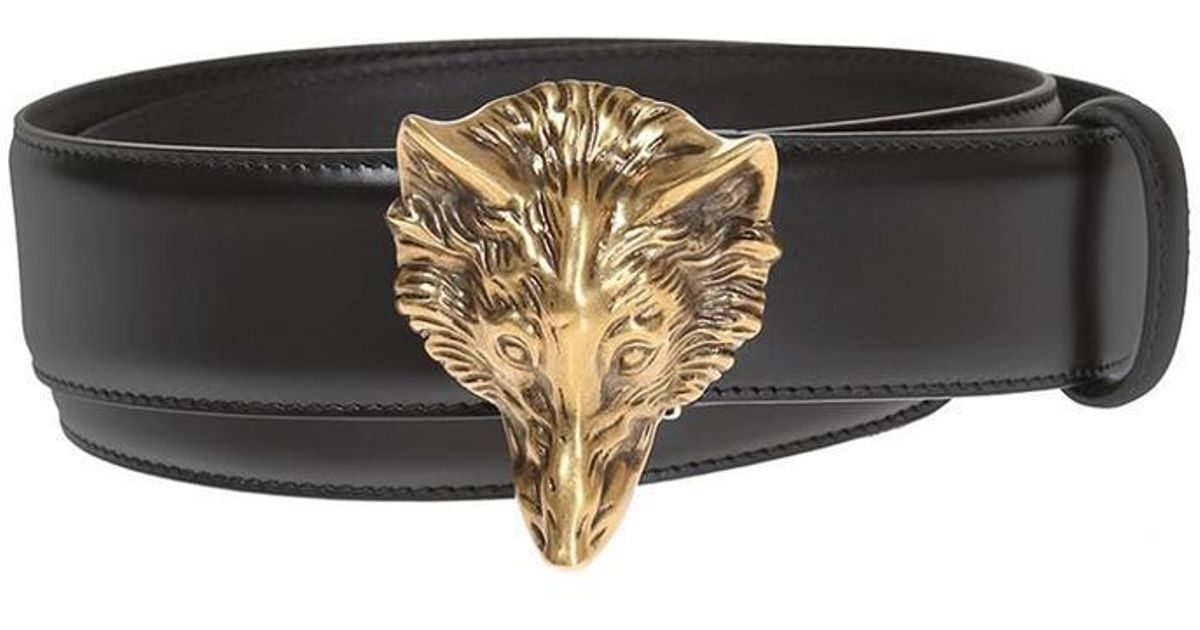 96c0cf5d7e8 Lyst - Gucci Wolf Head Belt in Black for Men