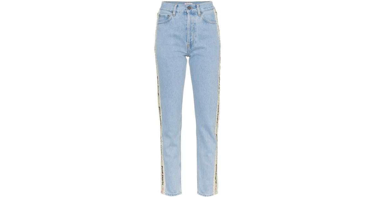cae258dc Palm Angels Tape Detail High-waisted Jeans in Blue - Lyst
