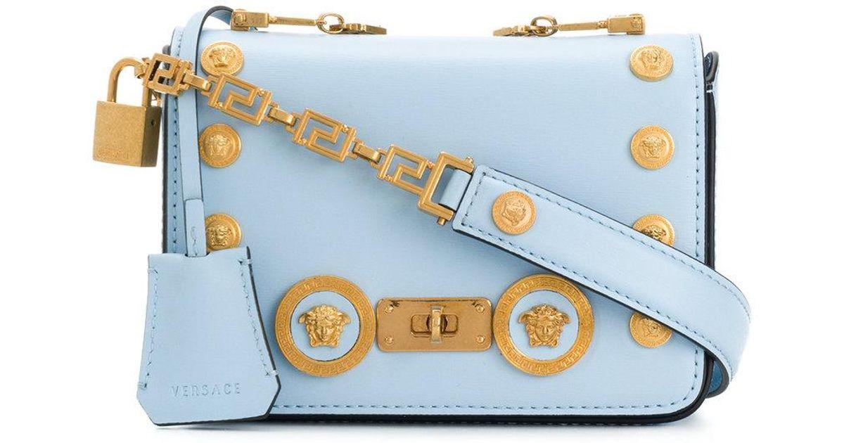 3bf3e547c5c ... new style 5ddba 330c2 Lyst - Versace Medusa Stud Icon Shoulder Bag in  Blue ...