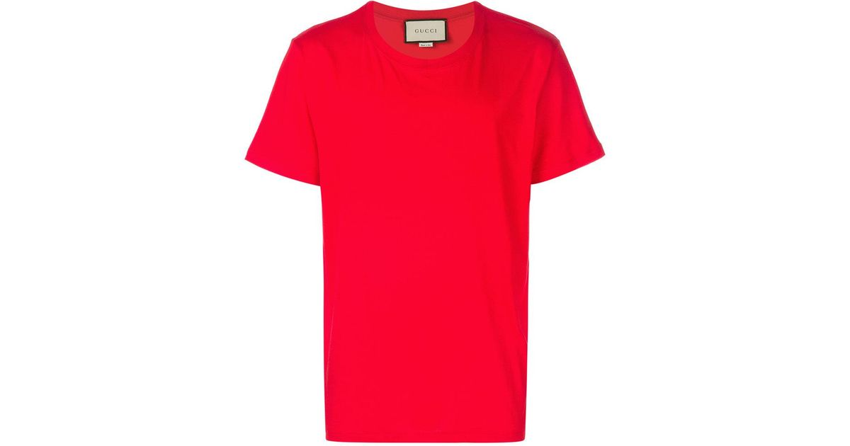 492720e676f31 Lyst - Gucci Back Logo Print T-shirt in Red for Men