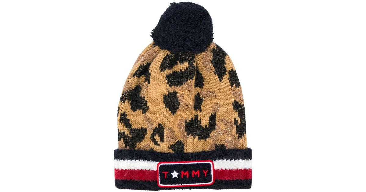 Lyst - Tommy Hilfiger Logo Stripe Leopard Beanie Hat f4808a370dc