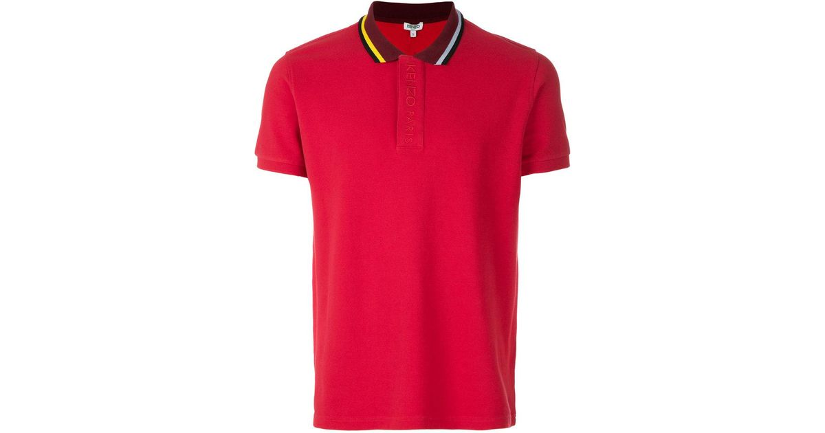 fb240b9b417 KENZO Bi-coloured Polo Shirt in Red for Men - Lyst