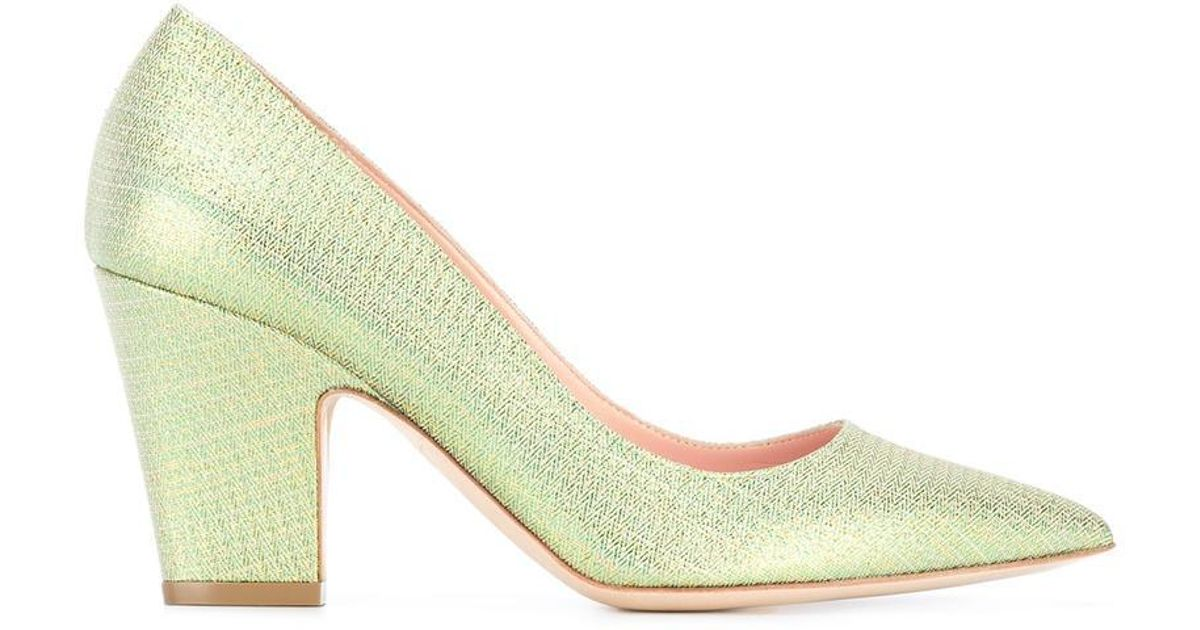 Rupert Sanderson glitter pointed toe pumps - Green farfetch beige