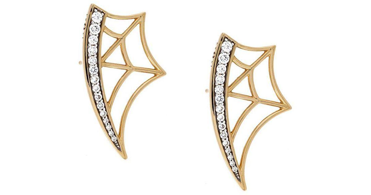 Eshvi 18kt gold and diamond web earrings - Metallic oHUrs3j3