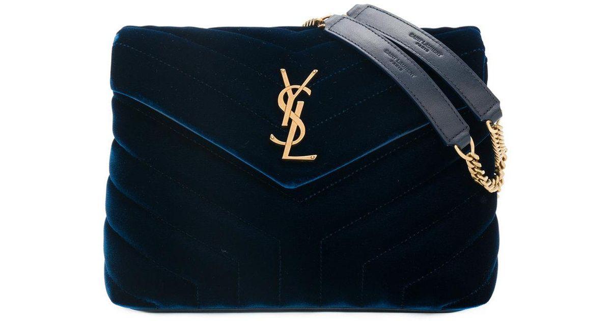 29867c5bfd Saint Laurent Small Blue Loulou Monogram Velvet Bag in Blue - Lyst
