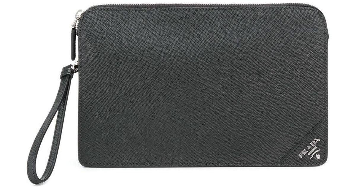 9c1063958071 Prada Corner Logo Clutch Bag in Black for Men - Lyst
