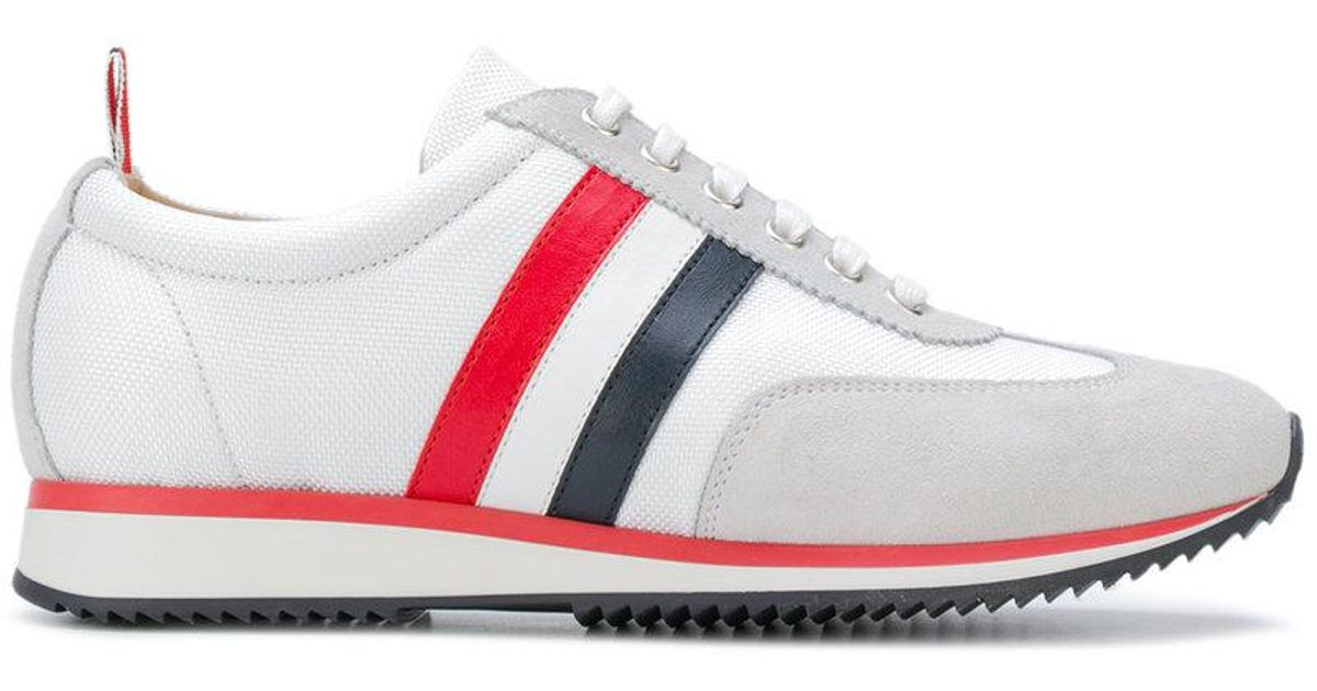 Valentino White Suede & Tech Tricolor Stripe Running Sneakers Wjb4R1