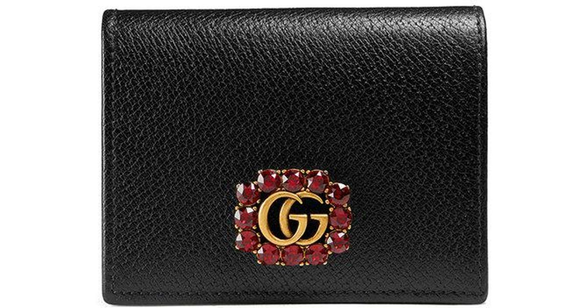 1908b1d614f Lyst - Gucci Leather Card Case With Double G And Crystals in Black