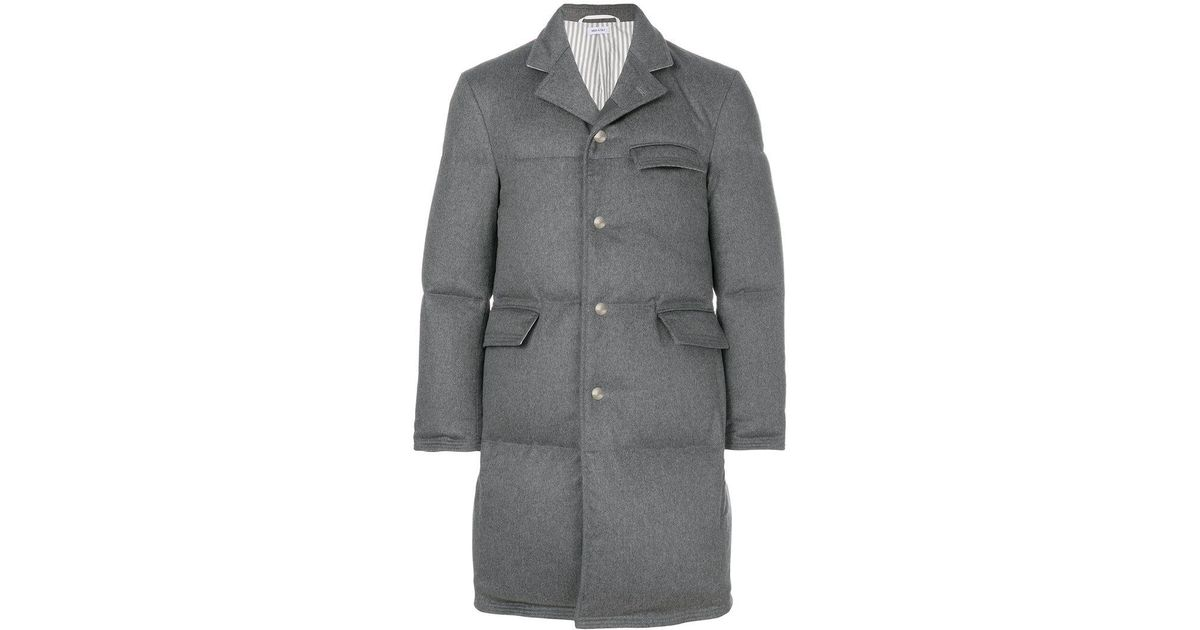 52f4bd6b5ca1 Lyst - Thom Browne Tonal Grosgrain Down-filled Classic Cashmere  Chesterfield Overcoat in Gray for Men