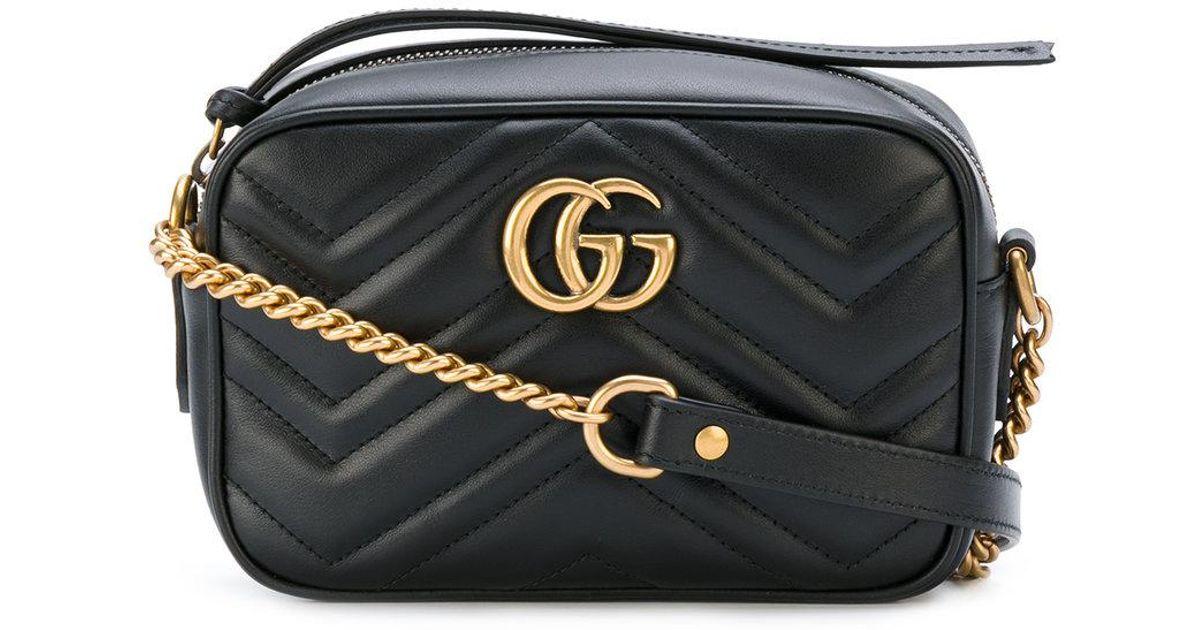 bbb84b3383ea Gucci Gg Marmont Matelasse Mini Bag in Black - Lyst