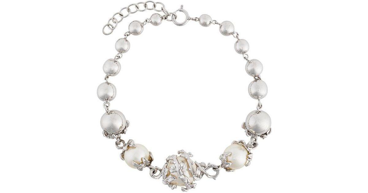 Kasun London orb and three pearl bracelet - Metallic E6PCF8Flj