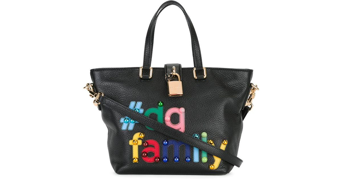 d6639db6bbe0 Lyst - Dolce   Gabbana  dg Family Patch Dolce Tote in Black