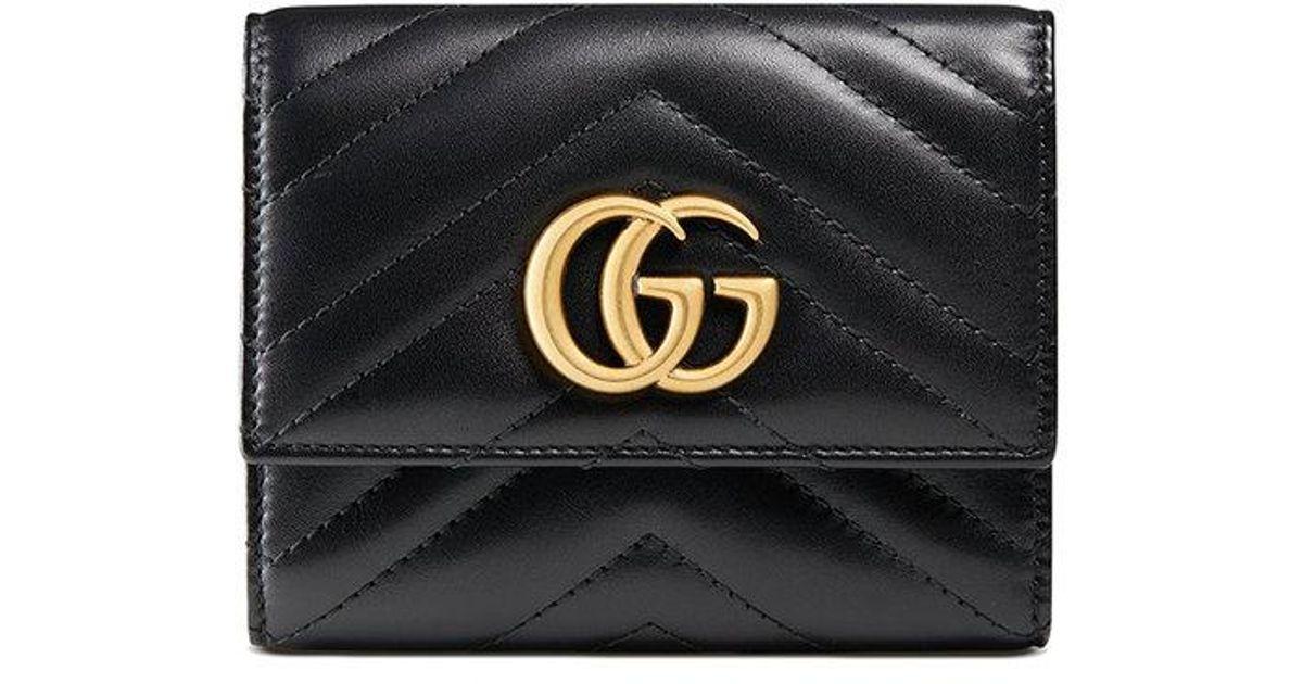 81861dbfa5bb Lyst - Gucci GG Marmont Matelassé Wallet in Black