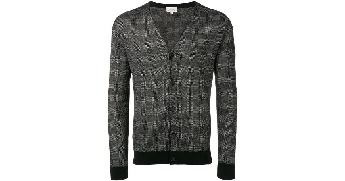 d40fa8a985b0 Lyst - Brioni Checked Cardigan in Black for Men