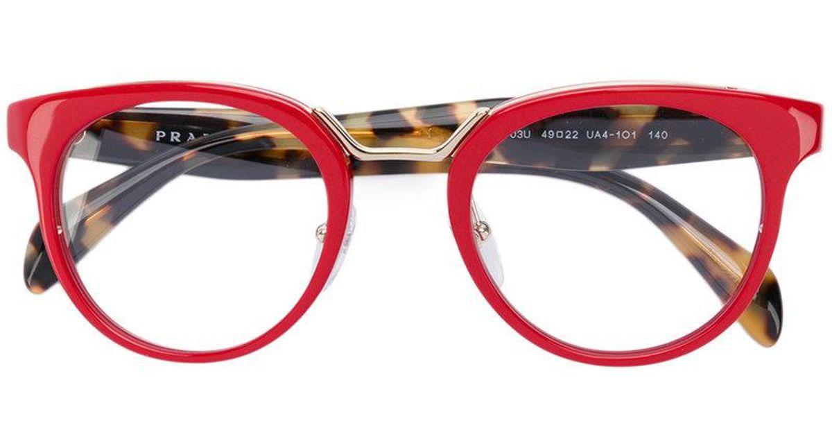 Lyst - Prada Round Frame Glasses in Red