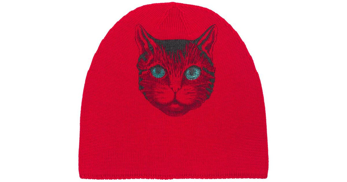 7a0d042fd Lyst - Gucci Beanie With Cat Print in Red