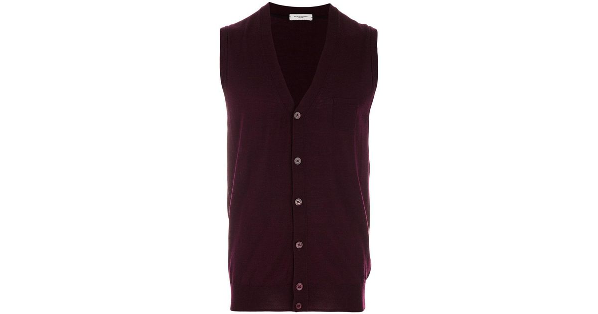 9b49d23b7b397 Lyst - Paolo Pecora Sleeveless Cardigan in Red for Men