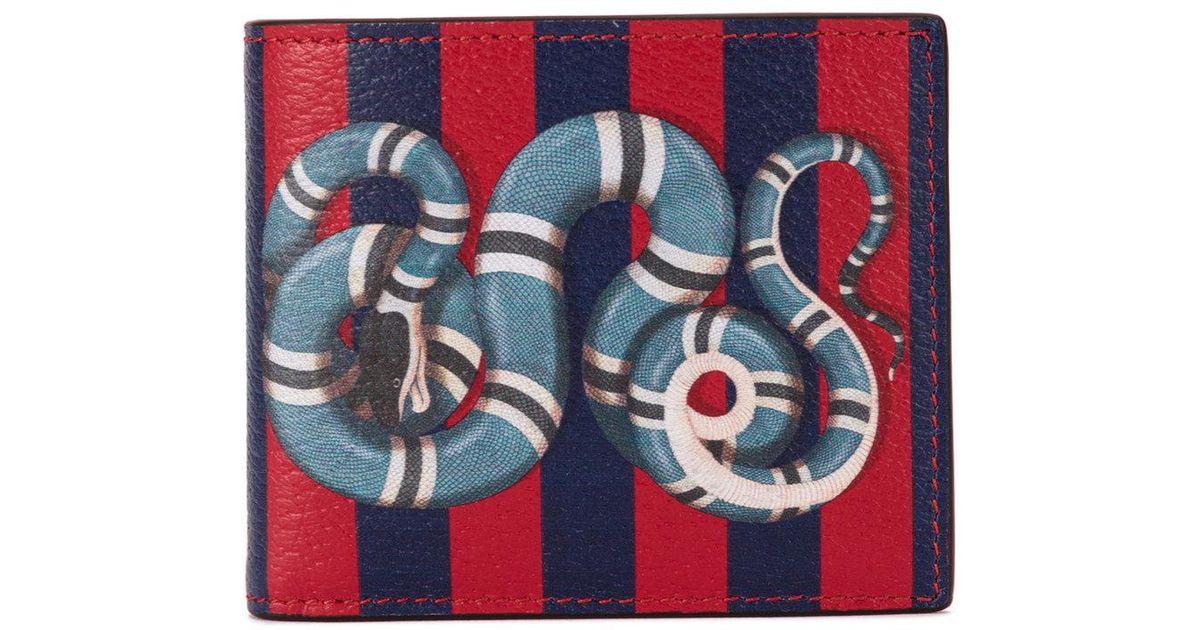 ed34e7622fa6 Gucci Kingsnake Print Striped Wallet in Blue for Men - Lyst