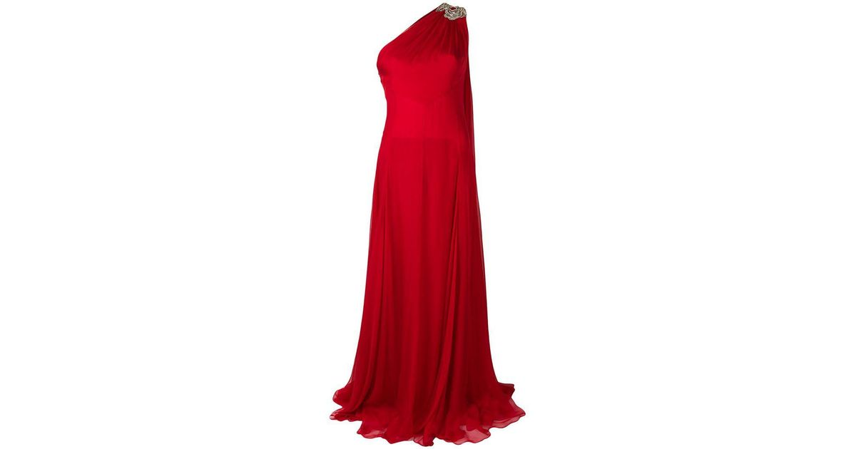 06b24f4f4c9b Alexander McQueen Chiffon One-shoulder Gown in Red - Lyst
