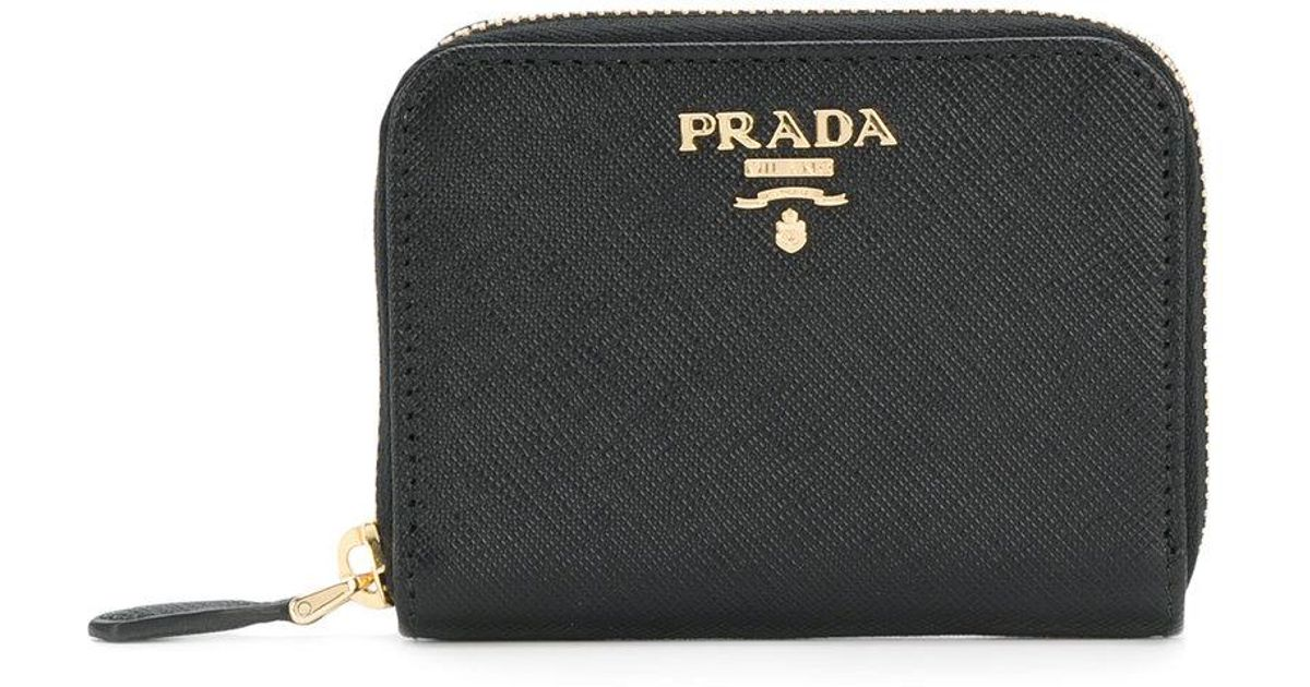 logo plaque zipped card case - Black Prada aLVdh3