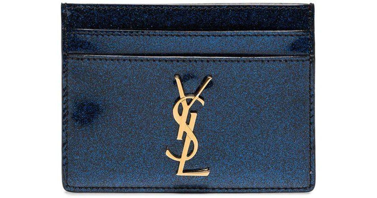 9b77cc5daab Saint Laurent Blue Patent Glitter Monogramme Card Holder in Blue - Lyst