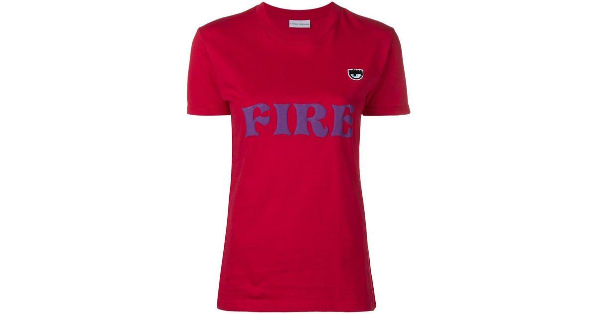 e01f386ff Lyst - Chiara Ferragni Fire Print T-shirt in Red