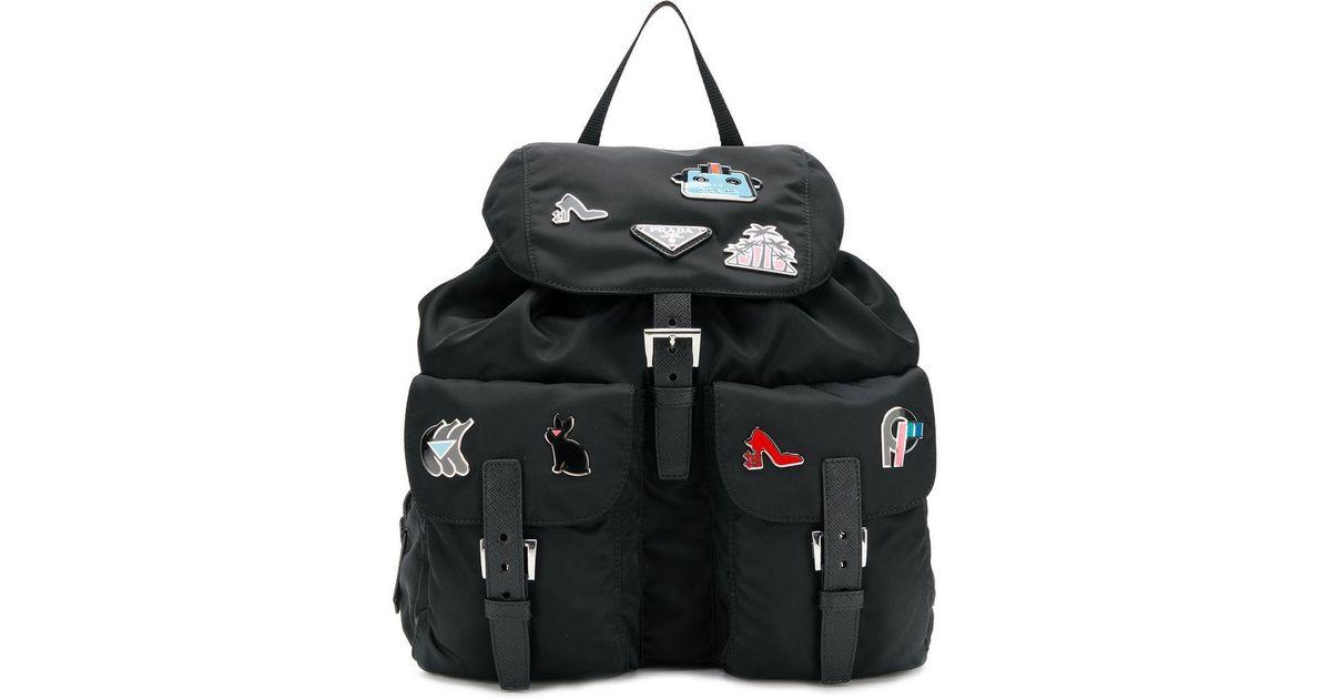 ecc3f4fde5 Prada - Black Pin Embellished Backpack - Lyst