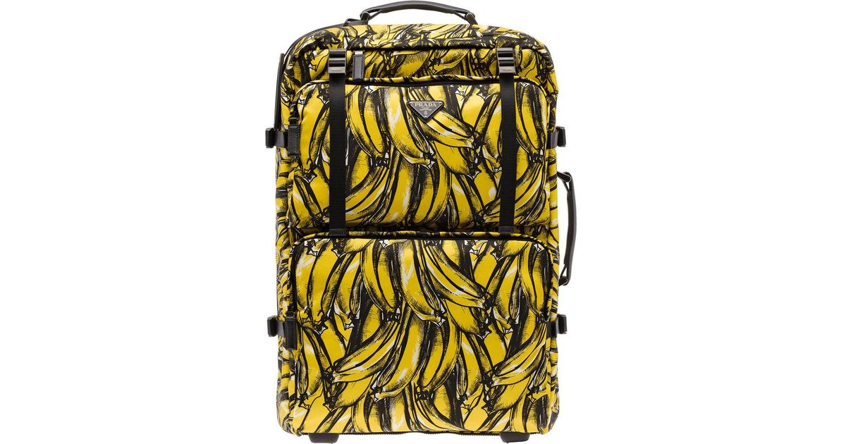 6d2a32ad8189 Prada Banana Print Cabin Trolley in Yellow for Men - Lyst