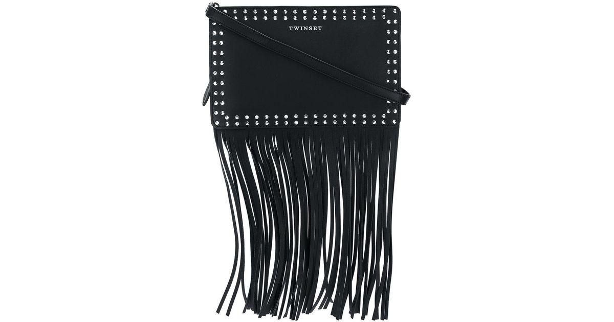 fringed studded shoulder bag - Black Twin-Set Tkpj7exv
