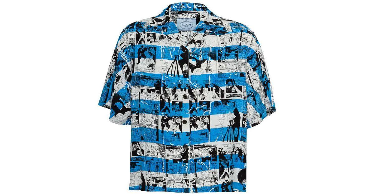 Lyst - Chemise imprimée à manches courtes Prada pour homme en coloris Bleu 09882bdc006