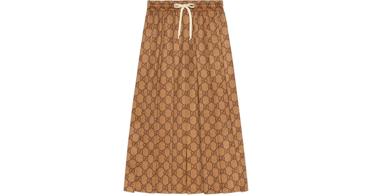 91c235819d9eb Lyst - Gucci GG Technical Jersey Skirt in Brown