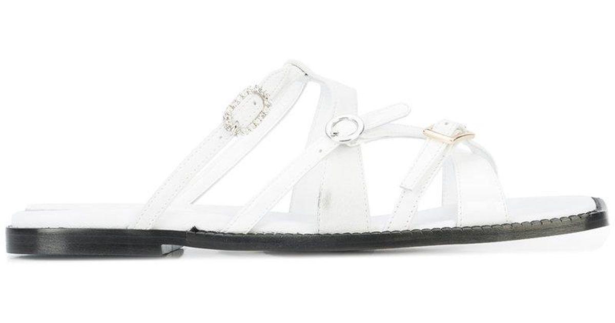 Mm6 Maison Margiela Moulantes Sandales Plates - Blanc IRpbUx