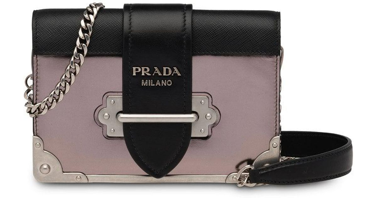 ce432f8d4190 Prada Grey, Black And Pink Cahier Mini Leather Shoulder Bag in Gray - Lyst