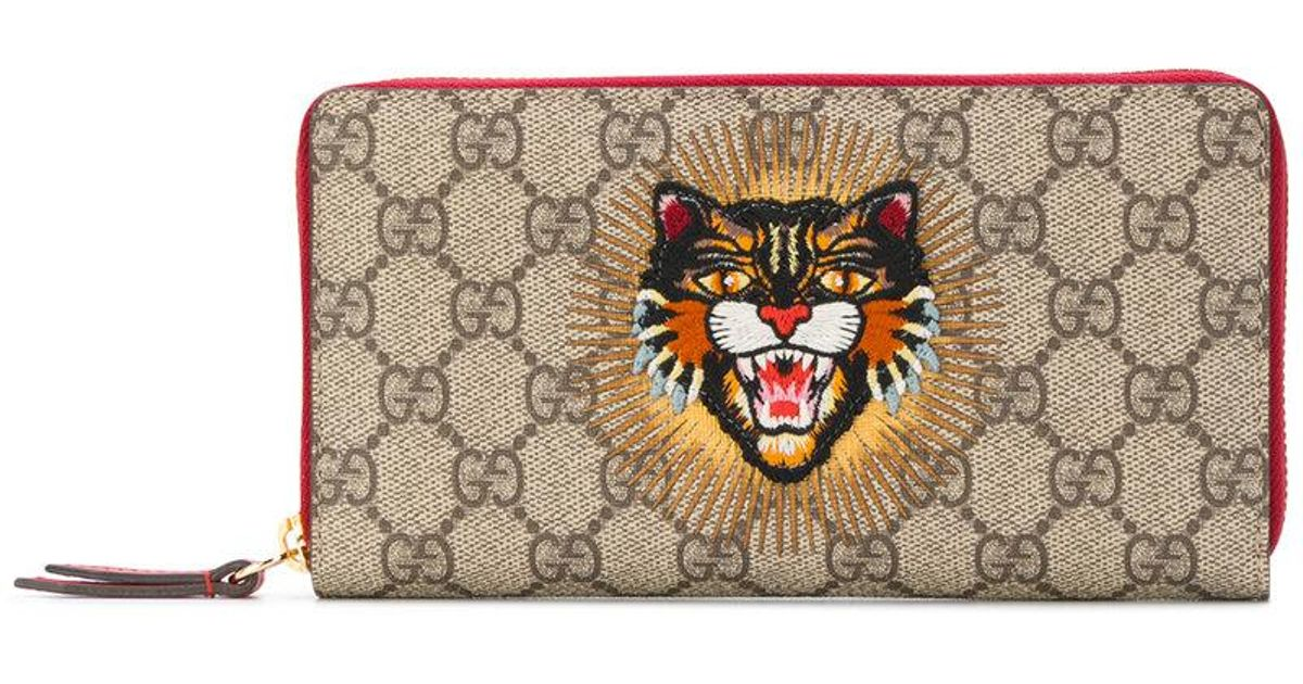 607fc9901af8 Gucci GG Supreme Angry Cat Wallet - Lyst