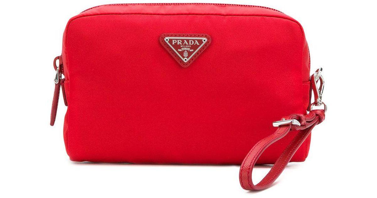 1487542ec4d4 ... cosmetic bags beauty 84226 15843; discount code for lyst prada logo  plaque makeup bag in red 08d4d d117d
