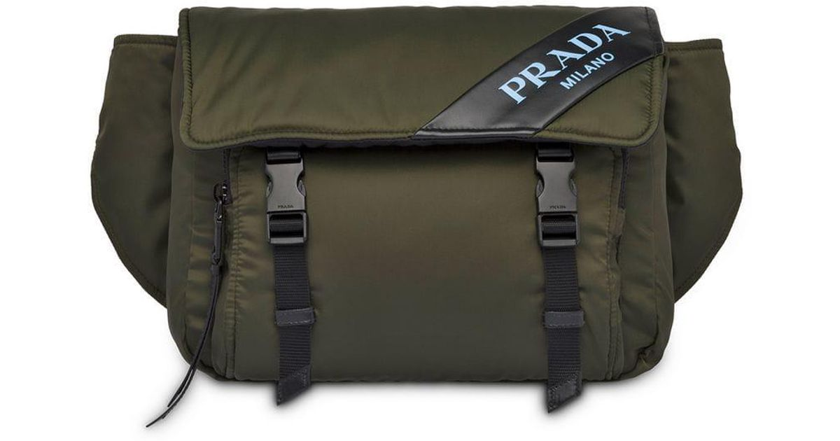 c4df2bd229a5e Lyst - Prada Nylon And Leather Belt Bag in Green