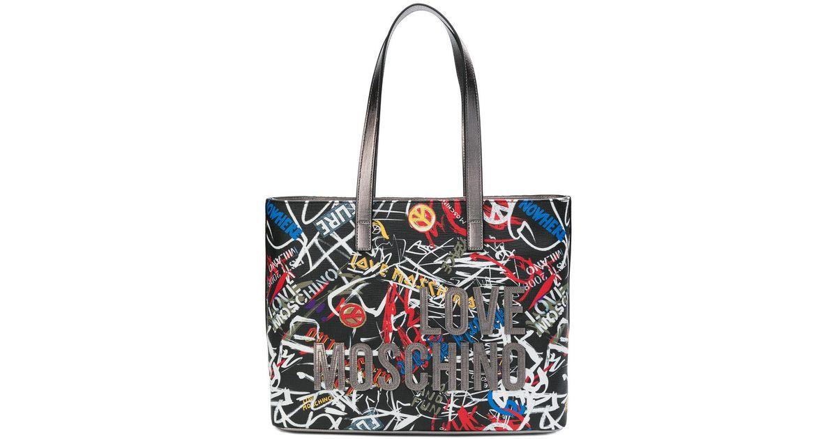 d8d2e3dfbf6 Love Moschino Graffiti Tote Bag in Black - Lyst