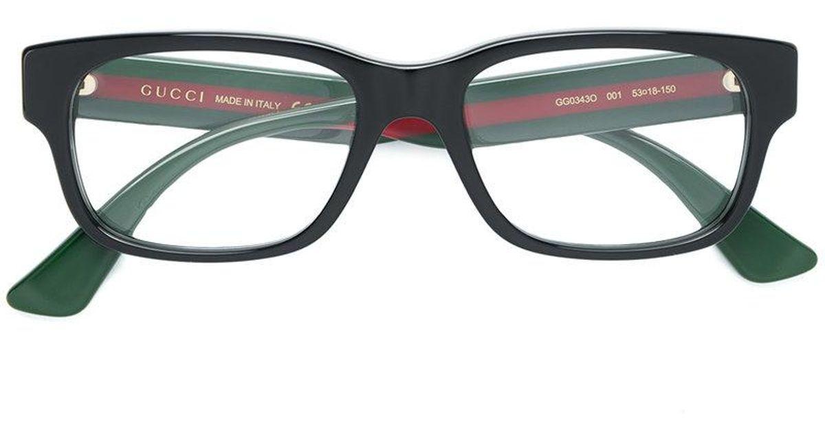 f406d4294b718 Gucci Web Detail Square Glasses in Black for Men - Lyst