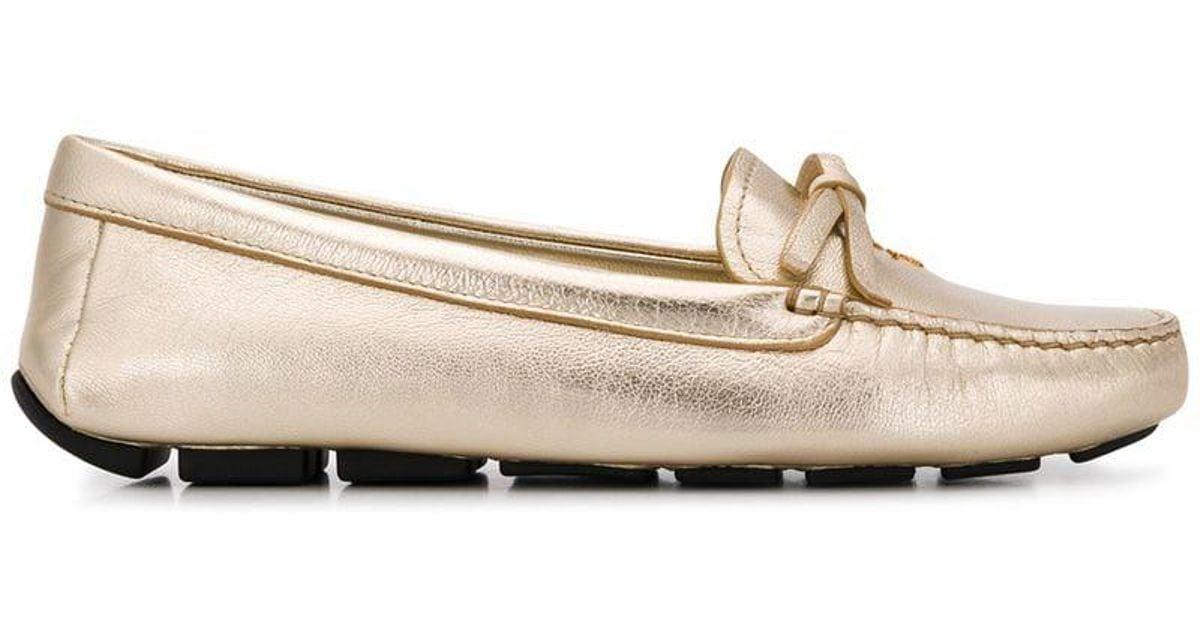 34f0ef8e Prada - Metallic Lettering Logo Loafers - Lyst