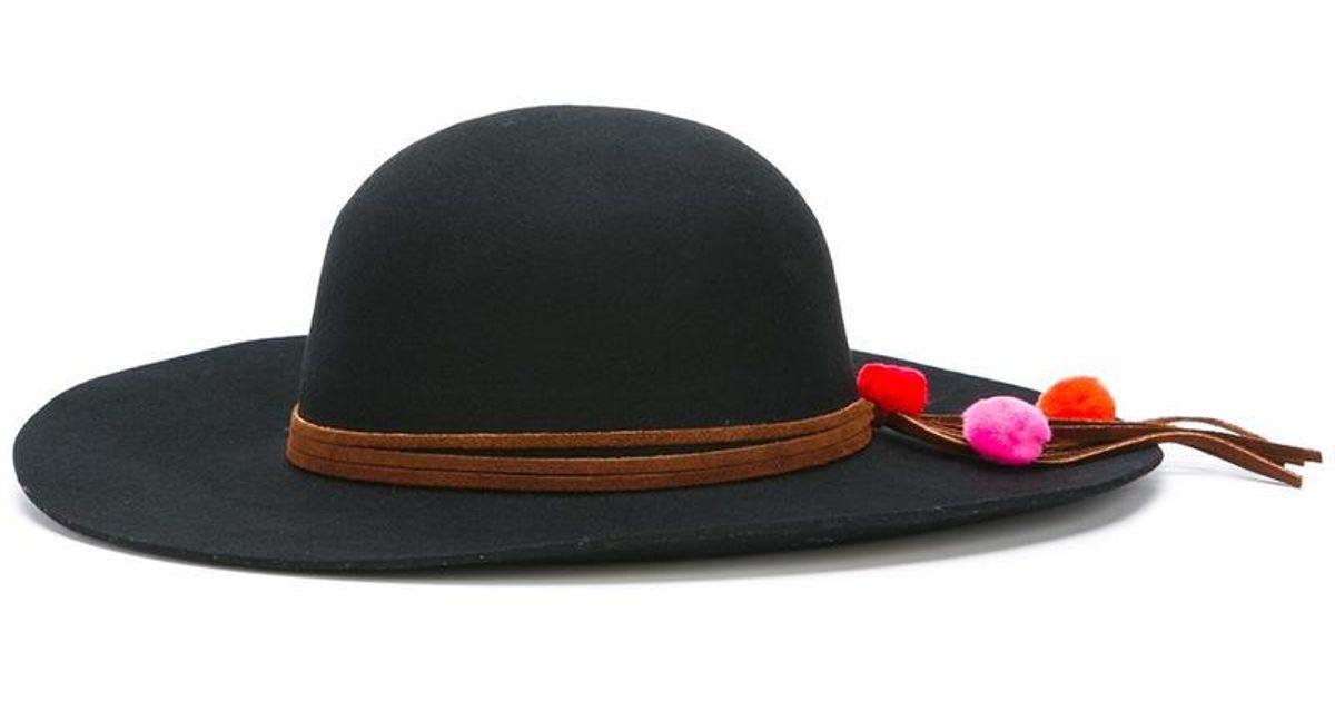 pom-pom hat - Black Sensi Studio 9ILekQZL