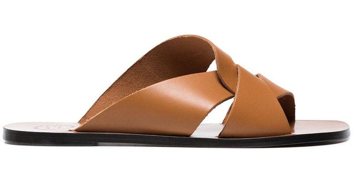Sandales En Cuir Découpe De L'atelier Atp Brun HqQJCTu